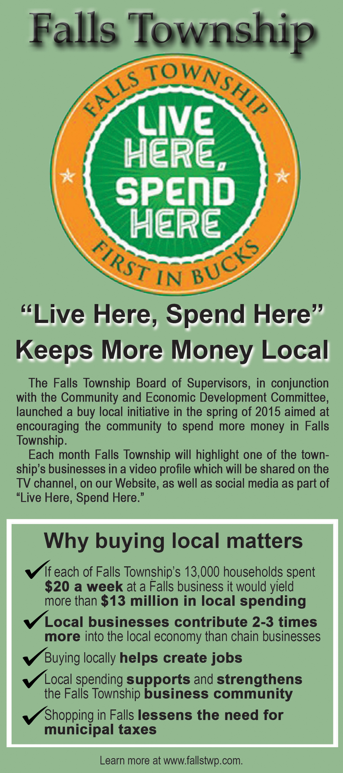 Katalinas Communications designed this rack card for Falls Township, which highlights the township's Live Here, Spend Here effort.
