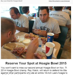 Lee's Hoagie House uses email blasts to keep Hoagie Bowl qualifiers informed about ticket purchases.