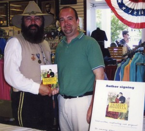 "Gen. James Longstreet supports ""Dearest Issabella"" author Mark Hubman during a book signing in Gettysburg, Pa."